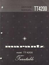 Marantz Service Manual Model TT4200 Turntable record player Original Repair book