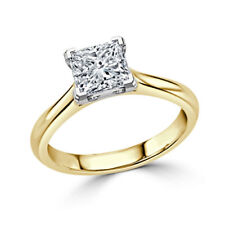 2.00 Ct Princess Cut Solitaire Diamond Wedding Ring 14K Real Yellow Gold Size M