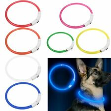 USB Rechargeable Pet Collar LED Flashing Light Waterproof Band Dog Belt US