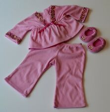 RETIRED JULIE'S PINK PAJAMAS & SLIPPERS! AMERICAN GIRL DOLL PJS! SEVENTIES