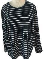 Liz Claiborne Woman knit top size 1X black white stripe long sleeve