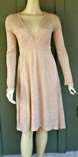ELLA MOSS Pale Peach Beige Jersey Pull-on Deep V-Neck Dress Small S