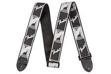 Genuine Fender Monogram Black/Lite Grey/Grey Strap for Guitar/Bass 099-0681-543
