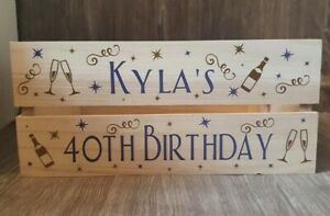Personalised Birthday Wooden Crate, gift box