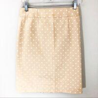 Women's J. Crew Pencil Skirt 0 Polka Dot Cotton Cream Beige Tan White Zip