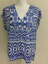 Portmans Pretty Women's Tunic Print Top Blue And White Size 12 Fits 14