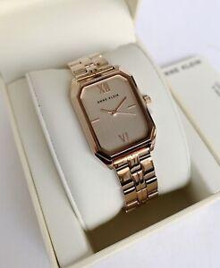 Anne Klein Watch * 3774RGRG Rose Gold Rectangular Dial Rose Gold Steel for Women