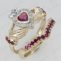 2Ct Heart Ruby & Diamond 10K Yellow Gold Bridal Ring Set Claddagh Ring