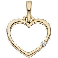 NEU Anhänger Herz 333 Gold Gelbgold Diamant Brillant 333er 8 KT Kettenanhänger