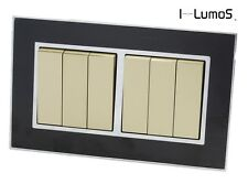 I LumoS AS Black Mirror Glass & Gold 13A Single/Double Sockets & Light Switches