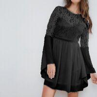 Élégant Femme Party Couture en Dentelle Manche Longue Ample Robe Dresse Plus