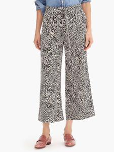 J Crew Womens Silk Leopard Print Cropped Wide Leg Pants Size 0 Tie Belt Waist