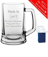 Personalised Engraved Beer Glass Tankard  Free Engraving Birthday Gift 30th 40th