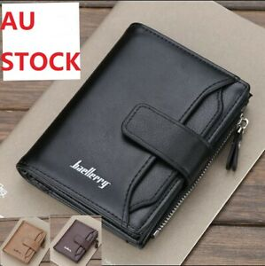 Mens Leather Wallet RFID Blocking Purse Credit Card Holder Coin Zipper Anti Scan