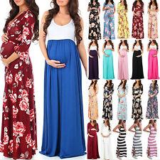 Women Floral Wrap Nursing Maxi Dresses Summer V Neck Pregnant Comfy Long Dress