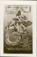 Vintage UNUSED 'Father' Birthday Embossed Postcard   CB.1415