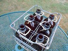 VINTAGE METAL 1/2 QT WIRE MILK BOTTLE CARRIER & 6 Brown Glass BOTTLES BARN FIND