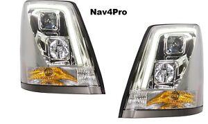 *NEW* 2004-2015 Volvo VN VNL Chrome LED Bar DRL Headlight Pair
