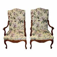 Pair of Vintage Carved Mahogany French Style High Back Floral Side Chairs