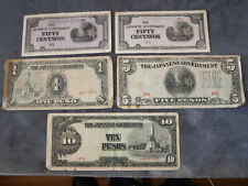 5 Circulated Ww2 Japanese Occupied Phillipines Currency Notes_50c 1, 5, 10 Peso