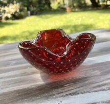 Murano Barovier ? 60er 70er Jahre Aschenbecher Schale Glas Rot Blasen