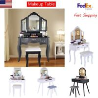 Vanity Set With Mirror & Home Cushioned Stool Dressing Table Vanity Makeup Table