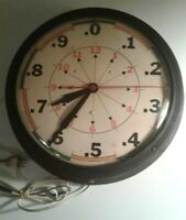 Vintage General Electric industrial midcentury wall clock with rare unusual face