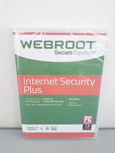 Webroot SecureAnywhere Internet Security PLUS 3 Devices / 1 Year Protection New