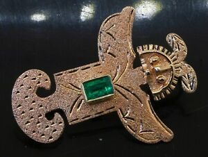 18K yellow gold 0.50CT Colombian emerald Aztec style totem figure brooch/pendant
