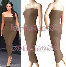 Womens Plain Tube Strapless Clubwear Celebrity Long Fit Bodycon Maxi Dress (2XL)
