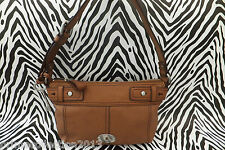FOSSIL Handbag Ladies MADDOX Zip Top Brown Leather Key Charm Bags RRP£129