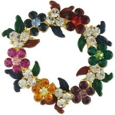 Xmas Made With Swarovski Elements Crystal Christmas Wreath Brooch Pin