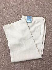 BNWT M&S Beige Flax 100% Linen Wide Leg Trousers Size 22
