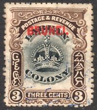 Brunei. Labuan Crown. 1906. Three Cents. Black & Sepia. Used  SG14