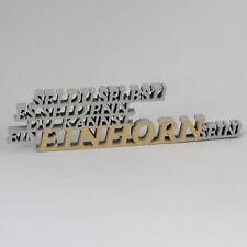 """3D Holzschriftzug """"Einhorn"""" grau/gold, 19 cm, Deko, Geschenk, Aufsteller"""