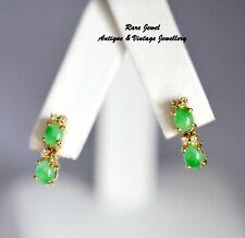 18CT GOLD JADE & DIAMOND EARRINGS EYE CATCHING DROPS BEAUTIFUL QUALITY