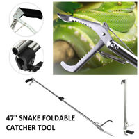47'' /120CM Foldable Reptile Snake Tongs Stick Grabber Catcher Tool Heavy Duty