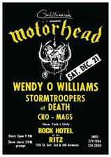Motorhead - LARGE POSTER - live @ the Ritz NYC Cro Mags S.O.D. Wendy O Williams