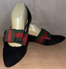 Gucci Web Red & Green Black Suede Women's Flats Ballet Shoes Sz.37 US 7