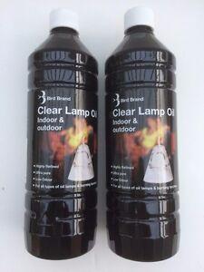 BIRD LAMP OIL 2 X 1 LITRE  LOW ODOUR SMOKELESS INDOOR / OUTDOOR CLEAR  PURE OIL