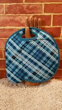 Built NY Neoprene Lunch Tote Bag Water Bottle Holder Zips Closed Blue Plaid 2049