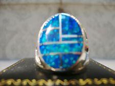 HUGE Fire Opal mens ring 8  Blue Green Silver 925 Thunderbirds Sterling 925