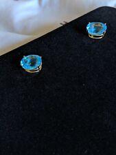 2 carat Swiss Blue Topaz Earrings 18 karat gold plated