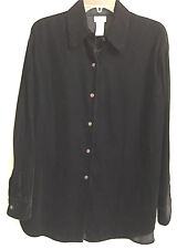 MIX - IT Black Velvet Button Down Blouse Cardigan Top Long Sleeve  L / Large EUC