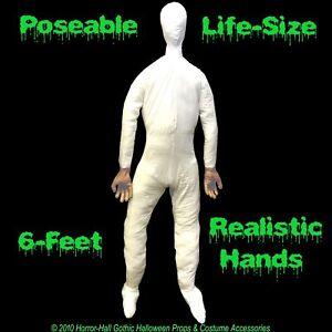 LifeSize STUFFED BENDABLE MANNEQUIN DISPLAY DUMMY Halloween Costume Prop Man-6ft