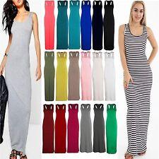 Ladies Jersey Long Summer Vest Racer Muscle Back Maxi Women Dress Plus Size 8-26