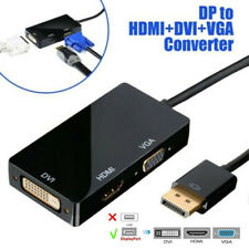 DisplayPort DP Male to HDMI/DVI/VGA Female 3 in 1 Adapter Converter Cable