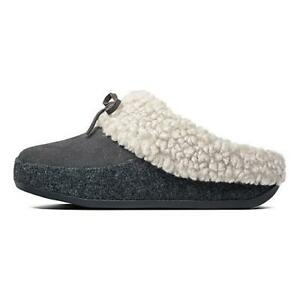 NEW Fitflop THE CUDDLER Suede/Felt Slippers, Grey, Women Size 5 M