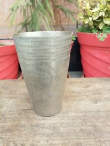 Ancient Brass Hand Crafted Dotted Floral Carved North Indian Lassi Glass Cup