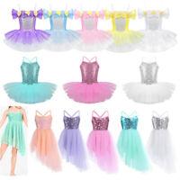 Girls Ballet Dance Tutu Dress Child Kids Sequins Leotard Skirt Dancewear Costume
